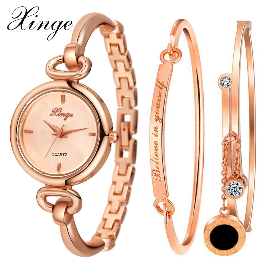 Xinge Brand Watch Women Bracelet Gold Jewelry Set Wristwatch Stainless Steel Crystal Diamond Quartz-watch Clock Quartz Watch xinge brand watch women bracelet rhinestone chain bangles jewelry watch set wristwatch waterproof ladies gold quartz watch
