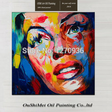 Hand-painted Modern Abstract Elegant Beautiful Knife Lady Face Portrait Wall Artwork Handmade Decorative Art Canvas Oil Painting