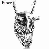 Hip Hop helado Bling rinoceronte cabeza colgante y cadenas de oro de acero inoxidable de Color diamantes de imitación collares joyería de los hombres