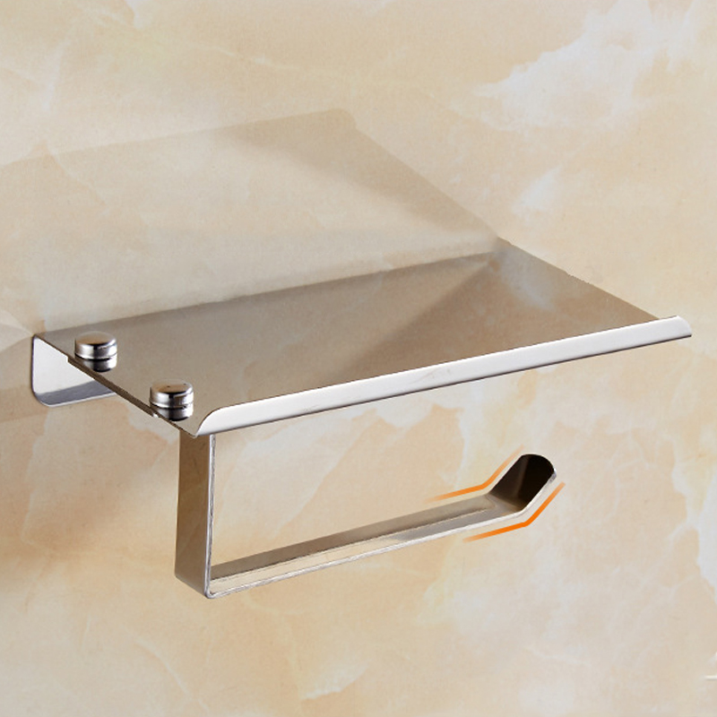 Concise Wall Mounted Toilet Paper Holder Bathroom Fixture Stainless Steel Roll Paper Holders With Phone ShelfConcise Wall Mounted Toilet Paper Holder Bathroom Fixture Stainless Steel Roll Paper Holders With Phone Shelf
