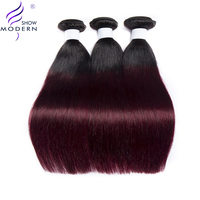Modern Show Hair #1B/99J Two Tone Ombre Hair Bundles Peruvian 3 Bundles Straight Hair 100% Human Hair Non Remy
