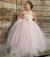 Petit Dream Rose Pink and Ivory Tulle Dresses Shoulderless Rose Flower Children Kids Wedding Party Clothes Kids Girl Tutu Dress