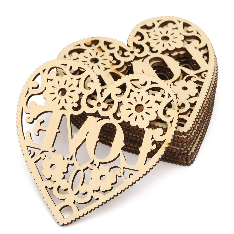 new arrival 10pcs laser cut decorative heart unfinished wooden shapes craft wood craft home decor - Laser Cut Wood