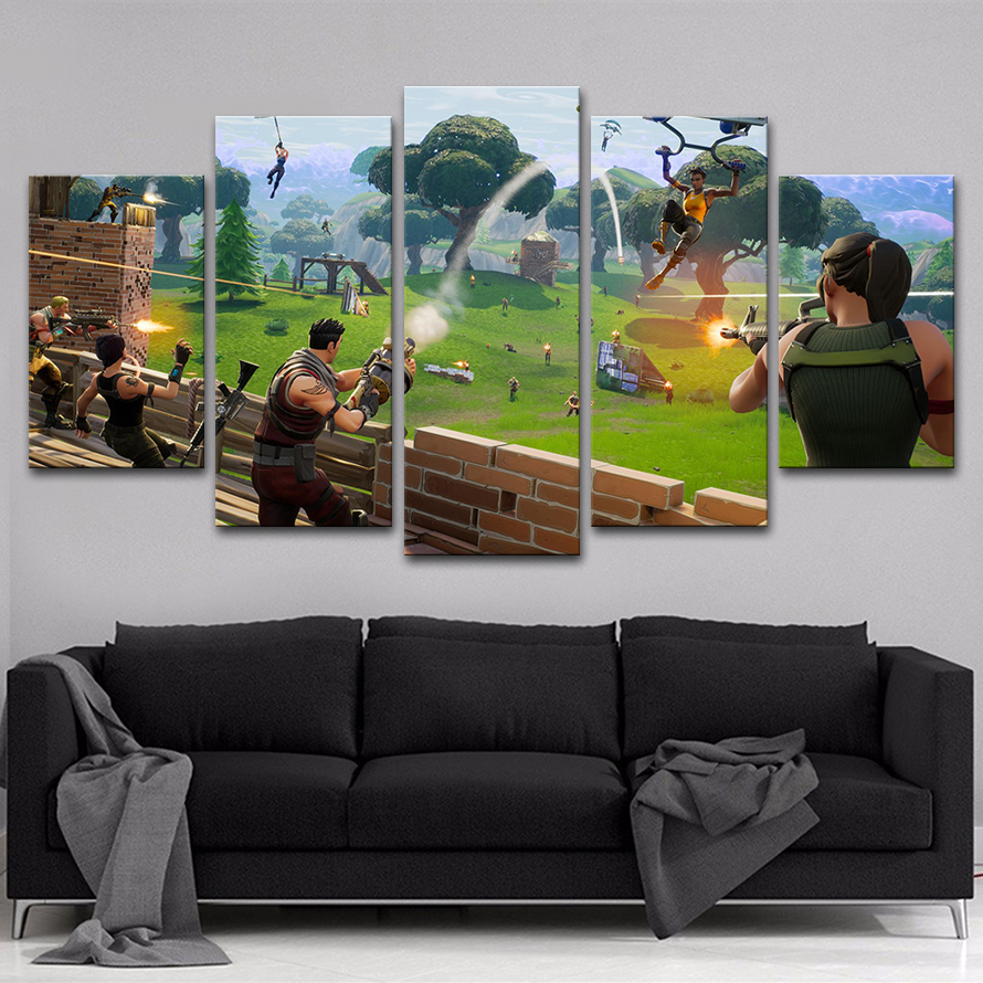 Wall Art Canvas Paintings Frame Home Decor 5 Pieces Fortnite Games ...