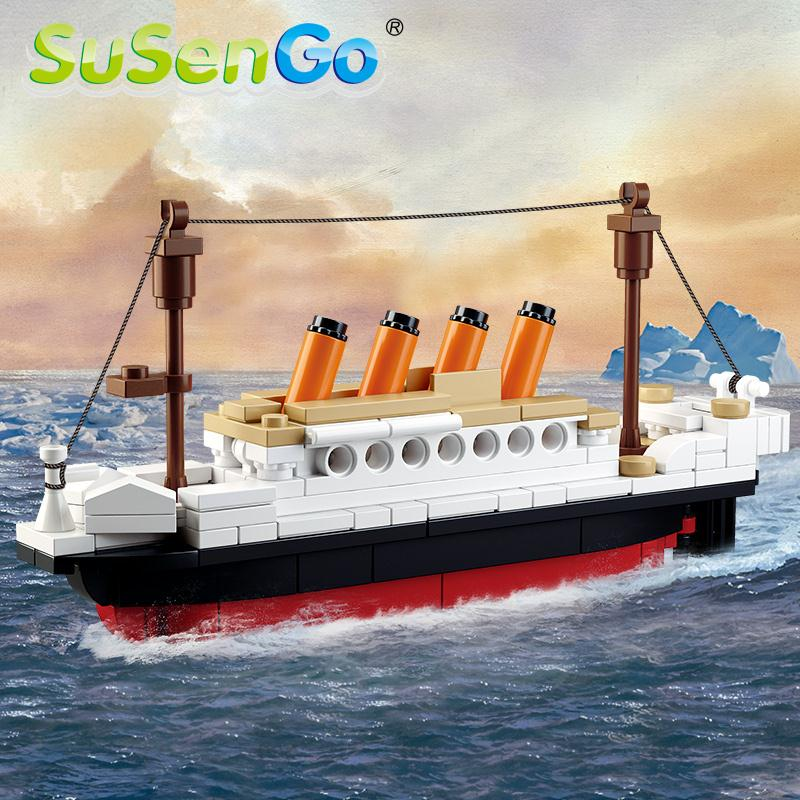 SuSenGo 194 Pieces Titanic Ship Boat Building Blocks Model Bricks Educational Toy For Children Birthday Gift pzx diamond blocks technic bricks building blocks toy vehicle rms titanic ship steam boat model toys for children micro creator