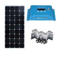 Комплект Панели солнечные солнечной 12 В 150 Вт Батарея солнечной 12 В Контроллер заряда 12 В/24 В 10A ШИМ автомобилей Caravane Autocaravana каравана
