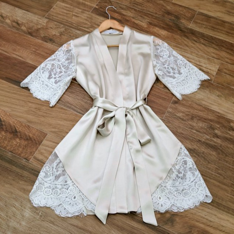 Newest Women's Silk  Lace Bathing Robe Lingerie Sexy Mini Dress Wedding Bridesmaid Sleepwear Bathrobe
