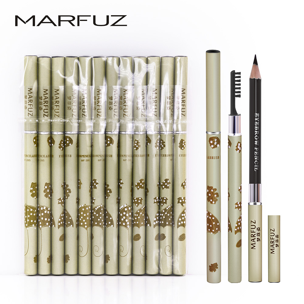 Eyebrow Enhancers Marfuz 12pcsl/lot 2in1 Eyebrow Enhancer Rhinestone Umbrella Waterproof Eye Brow Eyebrow Pen Pencil Eyebrow Brush