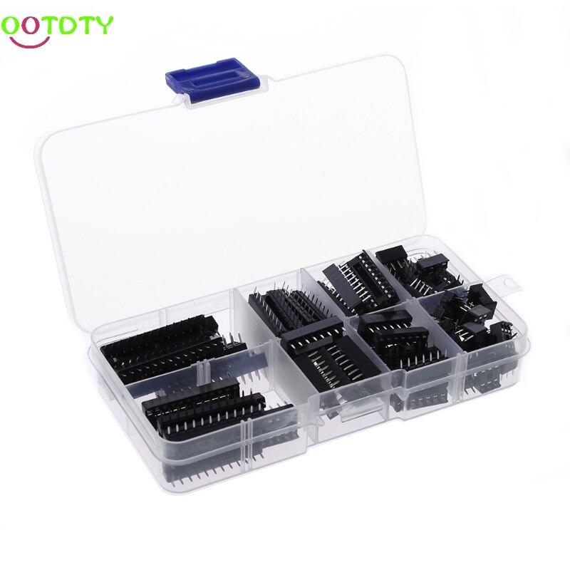 66 Pcs/set DIP IC Sockets Adaptor Solder Type Socket Kit 6 8 14 16 18 20 24 28 Pins  828 Promotion 3b0365 dip 8