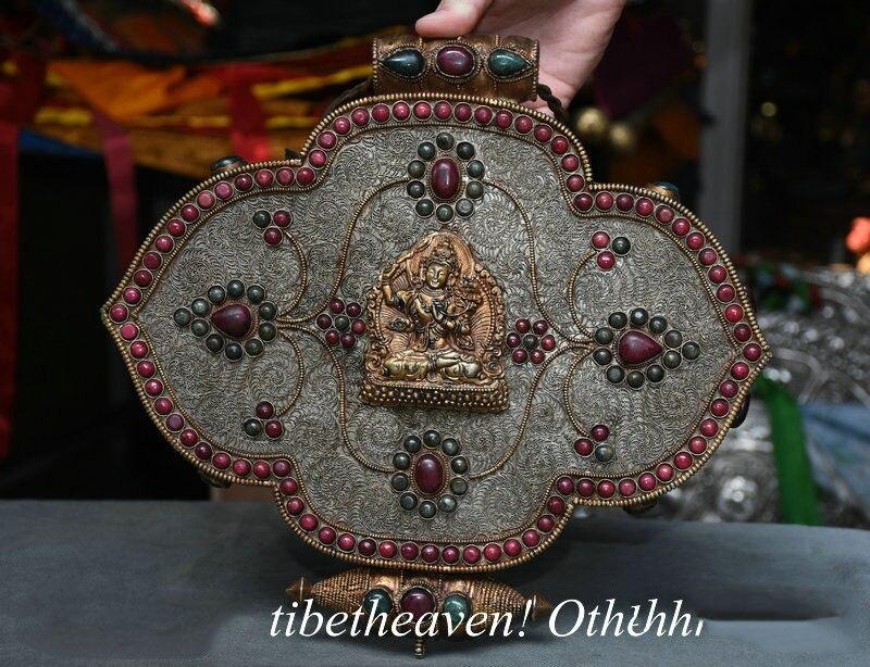 Christmas 12 Old Tibetan Silver Filigree Jewel Wenshu Manjushri Bodhisattva Jewelry Box Halloween