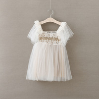 2016 Vestido Infantil New Real Minnie Spring And Summer White Lace Girls Dress Children 90 100