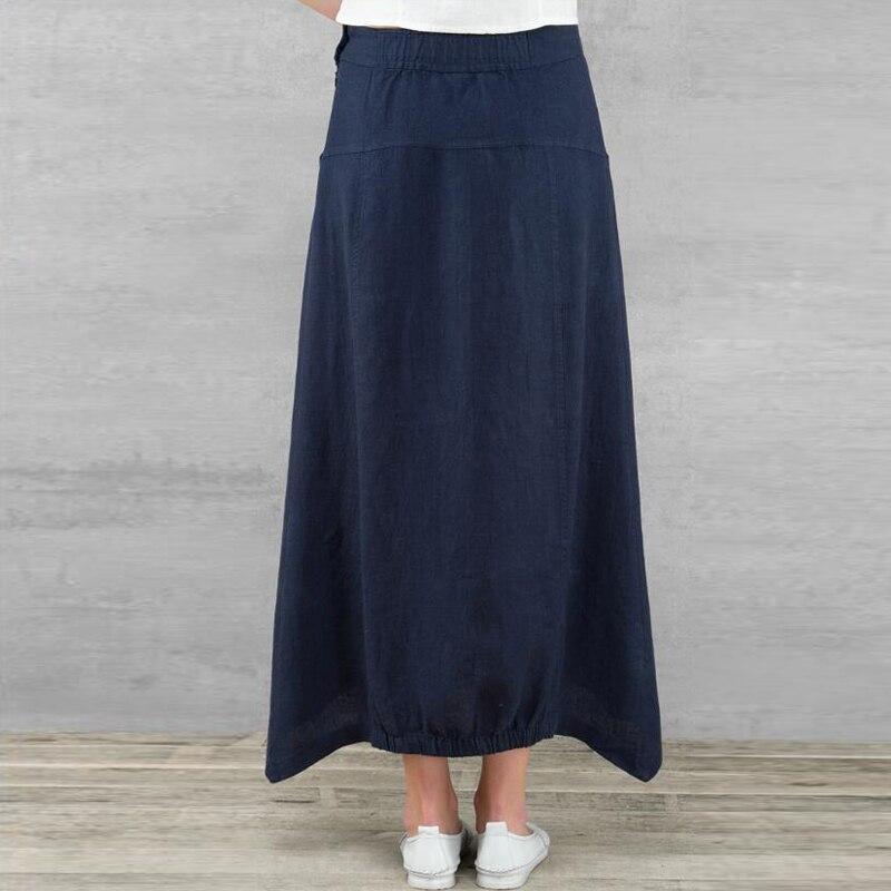 Celmia Vintage Women Maxi Skirts 19 Summer Casual Loose High Waist Asymmetrical Linen Skirt Plus Size Long Pleated Beach Skirt 9