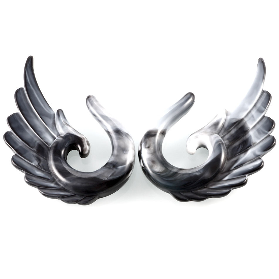 1PCS Gray Gauges For Ear Tunnels Earrings Stretching Tapers Gray Acrylic Angel Wing Expander Stretcher Body Jewelry Party Gift in Body Jewelry from Jewelry Accessories