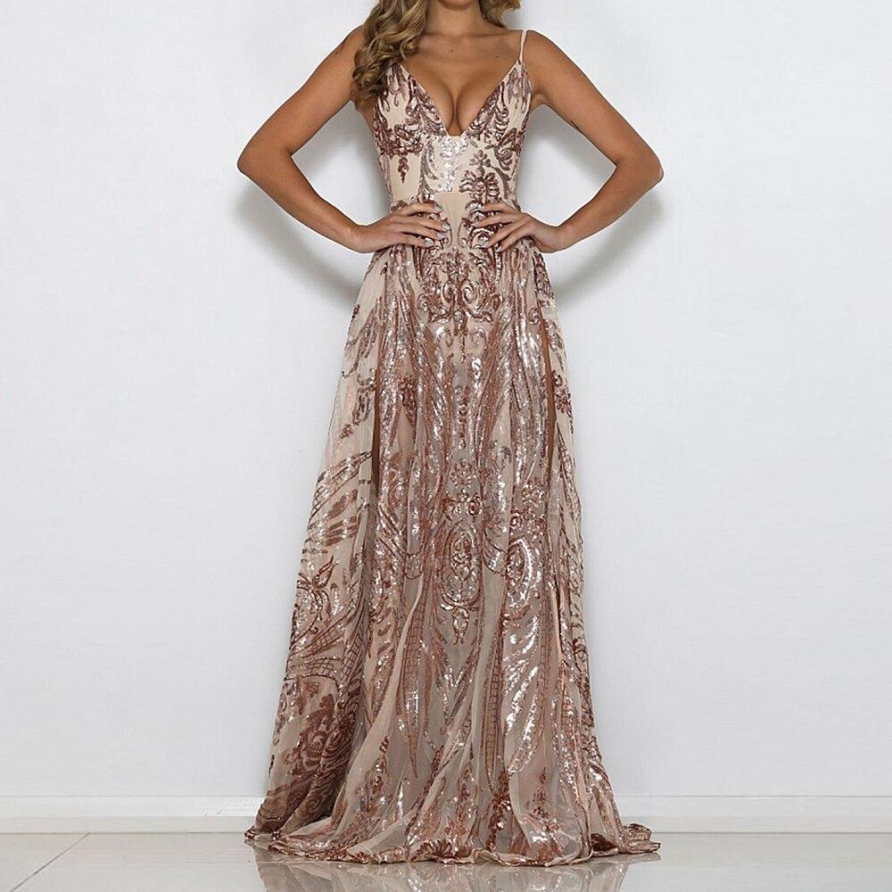 Sexy Sequined Party Dress Deep V Neck Empire 2 High Splits Floor Length Maxi Dress Transparent