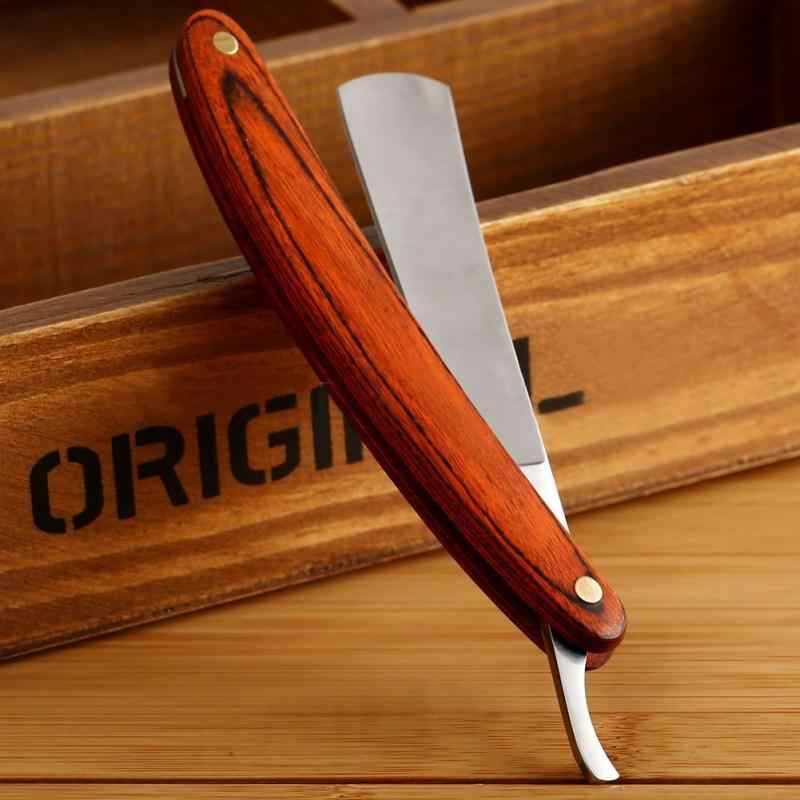 ヴィンテージ古いシェービングナイフストレートエッジステンレス鋼理容カミソリ折りたたみシェービングナイフ脱毛ツール木製ハンドル