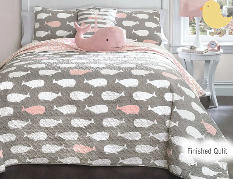Pink Printed Whale Home Textile Bedding Quilt 220*240 cm Sell by piece