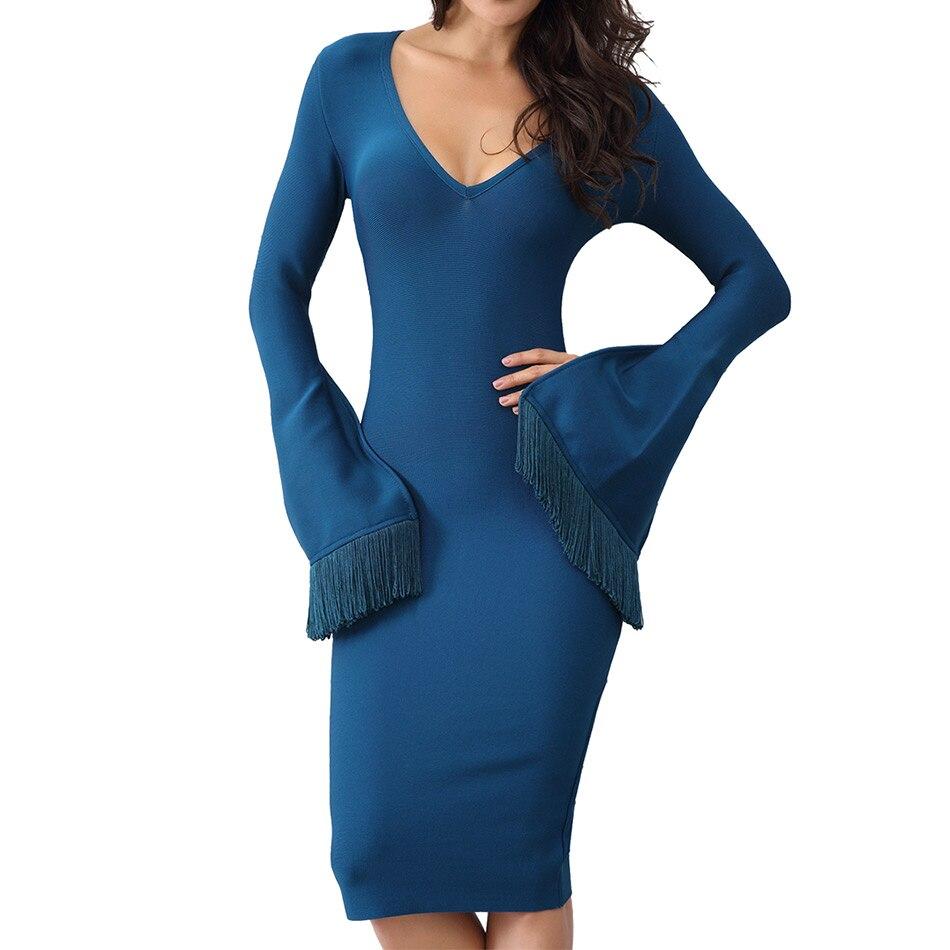 Seamyla New Elegant Bandage Dress Women Sexy V Neck Fringe Flare Sleeve Spring Dress Vestidos Bodycon