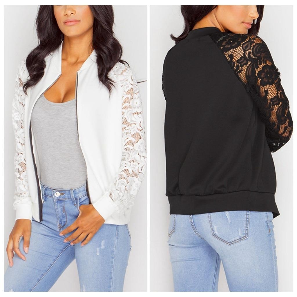 PEONFLY Lace Sleeve Women   Basic   Coats Long Sleeve Lace Patchwork Transparent Zipper Casual Slim   Jacket   Bomber   Jacket   Outwear