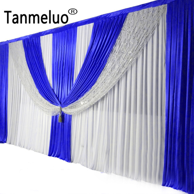6M Length Royal Blue Swags With Silver Sequin For Wedding Whole Set White Background Curtain