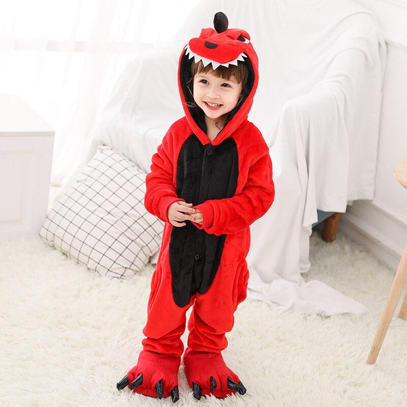 Kigurumi ילדה ילד יוניסקס פיג 'מה Acettate פלנל בעלי החיים Cartoon ילדים בני בנות Sleepwears 4 6 8 10 12 שנים ילדים של פיג 'מה
