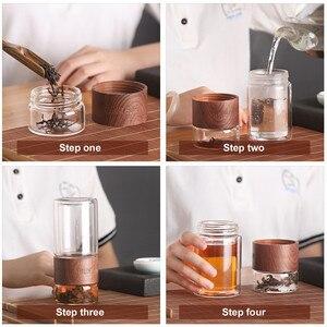 Image 3 - ONEISALL 200ml זכוכית בקבוק מים עם תיק גבוהה בורוסיליקט זוגי תה מים בקבוק Infuser כוס Drinkware חכם בקבוקים