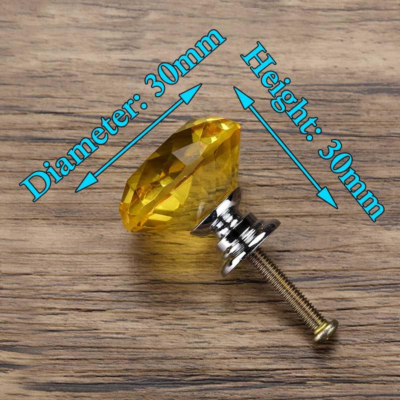 KAK 30 мм Алмазная форма дизайн хрустальные стеклянные ручки Шкаф Тянет ручки ящика кухонный шкаф ручки Мебельная ручка фурнитура - Цвет: Yellow