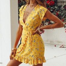 Lossky Women Loose Short Sleeve V-Neck Ruffles Print Casual Yellow Summer Chiffon Dress 2018 Beach Elegant Mini Dresses vestido