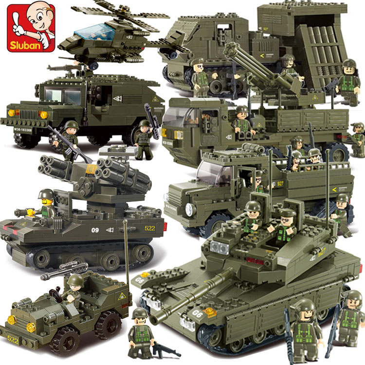 Sluban Compatible Military Tank World War 2 Army Figures Series Set Troops Building Blocks Bricks Helicopter Model Toys
