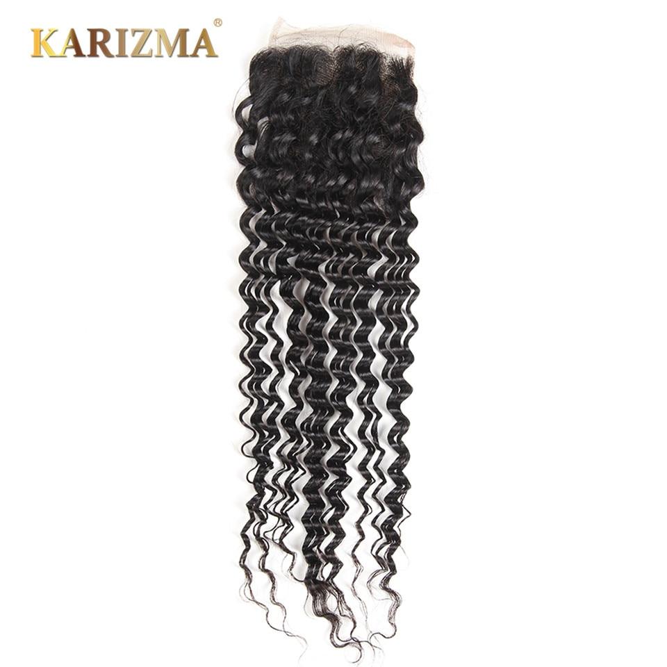 Karizma Deep Wave Lace Closure 4 4 Free Part Natural Color 10 18inches 100 Remy Human