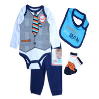 Baby Boys Clothes Sets Autumn Baby Suit Gentleman Boys Bodysuits Pants Bib Socks Clothing Set 0