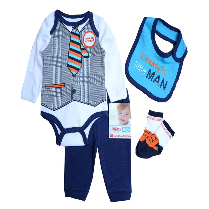 Baby Boys Clothes Sets Autumn Baby suit Gentleman Boys Girls Bodysuits Pants Bib Socks Clothing Set, 0-9 Months