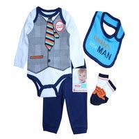 Baby Boys Clothes Sets Autumn Baby Suit Gentleman Boys Bodysuits Pants Bib Socks Clothing Set 0