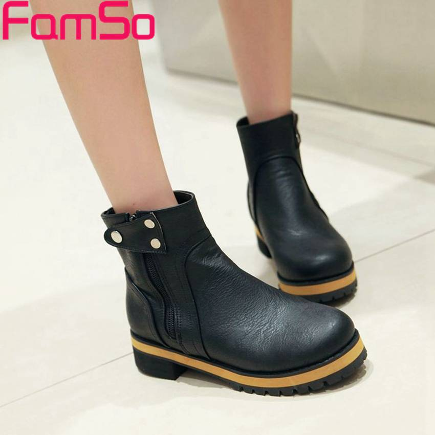 Plus Size34 43 2016 New Sexy font b Women b font Boots Autumn Solid Ankle Boots