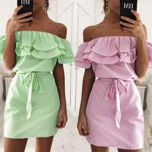 647f494ea8 Vertvie Beach Skirt Swimwear Swimsuit Beach Dress Women Blue Striped  Swimsuit