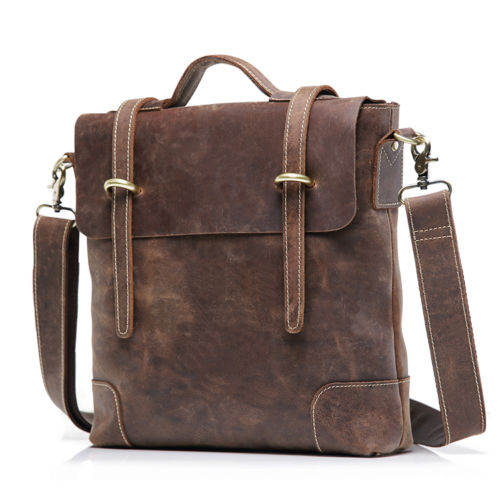 teemzone - Men's Vintage Crazy Horse Leather Genuine Leather Business Case Briefcase Messenger Shoulder Bag J30 цена и фото