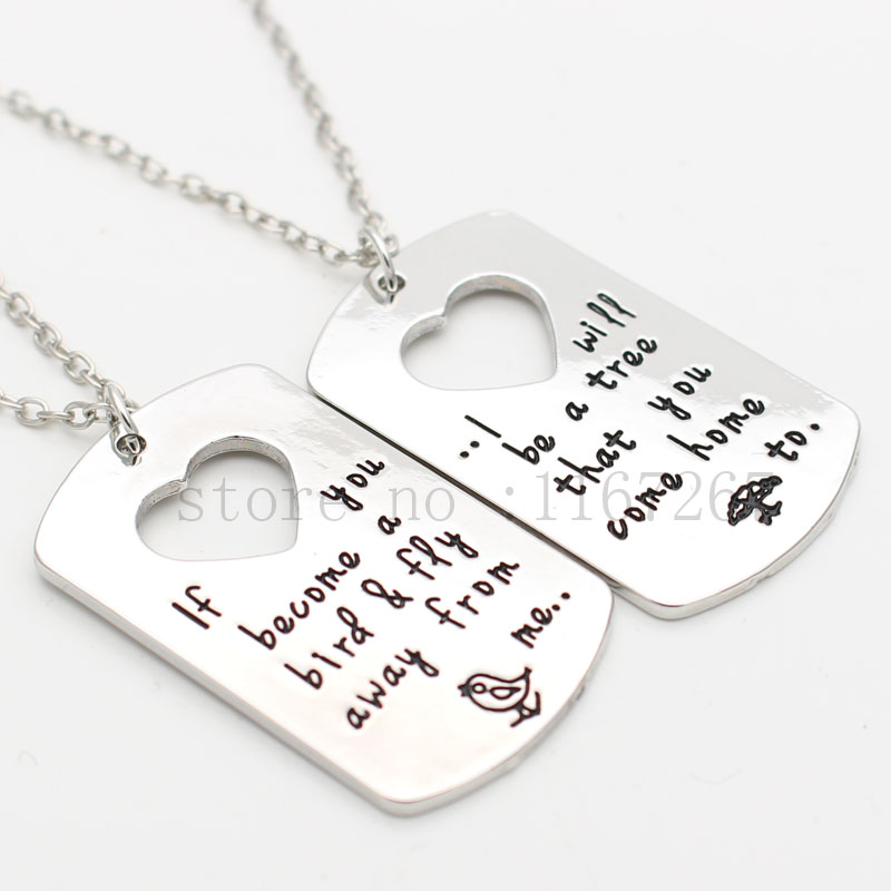 US $3.54 29% OFF|Mother Child Keychain necklace Hand Stamped Quote Mother  Son Daughter Set Bird Tree Graduation Gift Mother Son Jewelry set of 2-in  ...
