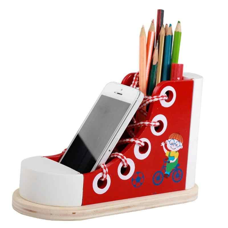 Деревянные шнуровки обувь шнурки Threading Tie-up Обучающие игрушки обувь ручка контейнер для детей ясельного возраста