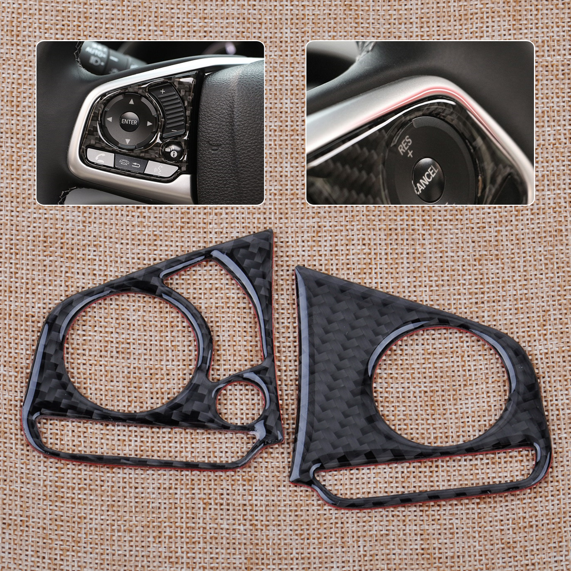 CITALL 2pcs car-styling Carbon Fiber Auto Steering Wheel Button Cover Trim Decor Fit For Honda Civic 10th 2016 carbon fiber car leather car central armrest console cover for honda civic 10th 2016 2017 2018 accessories