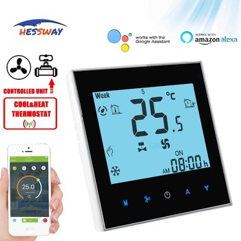 HESSWAY TUYA 2PIPE Touch Screen LCD Display 3 Speed Fan Coil Units Thermostat WIFI For Central Air