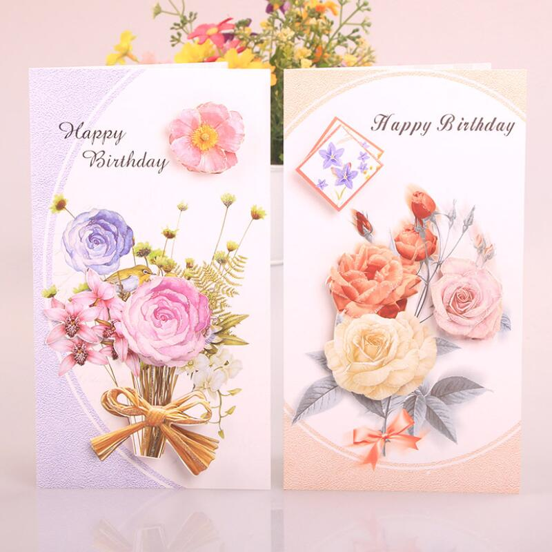 8 Pcs Lot Cute Birthday Cards Flower Printing Children Gift Blessing Card Kidsfriends Happy Greeting In Invitations From