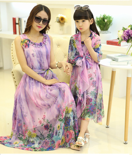 Mom and daughter dress matching mother daughter clothes family look girl and mother dress Floral  sleeveless dresses