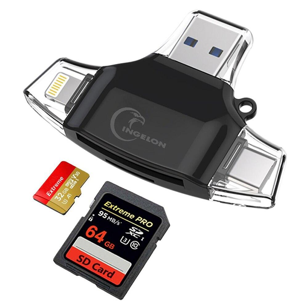 Lector de tarjetas Micro SD Ingelon tipo C 3 en 1 OTG USB C RS MMC memoria Flash para iPhone iPad Samsung MacBook adaptador Micro SD lector