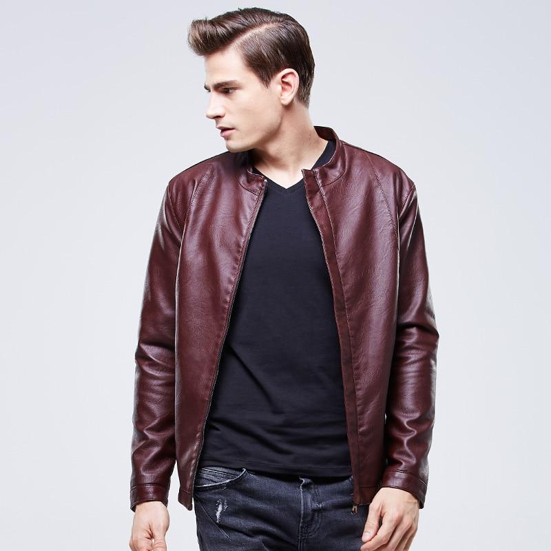 2015 New Arrival Mens Black Leather Jacket Fur Lined Winter ...