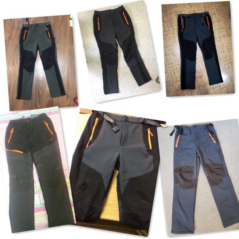 HTB1DkgAgsIrBKNjSZK9q6ygoVXaP 2019 Winter Men Cargo Pants Elastic Waist Travel Softshell Trousers Waterproof Windproof Thermal Men's Warm Men's Trousers