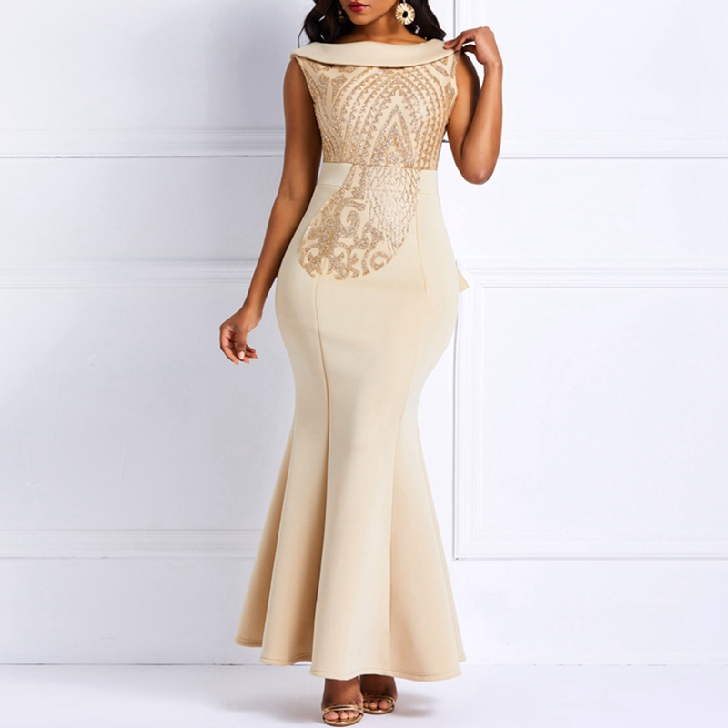 Sequins Bodycon Trumpet Party Dress Women Elegant Slim Ruffle Christmas Ladies Prom Evening Formal Dinner Red Sexy Maxi Dresses in Dresses from Women 39 s Clothing
