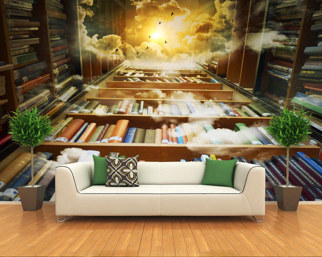 Book knowledge power channel creative 3D large mural wallpaper 3d bedroom living room TV backdrop painting wallpaper enterprise knowledge management