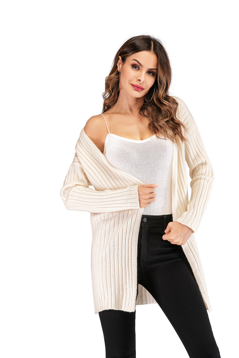 Fall Winter Cute Knitted Middle Long Ribbed Cardigan Dress for Women Kawaii Ladies Knit Drop Shoulder Sweater Coat Oversized S-L 16
