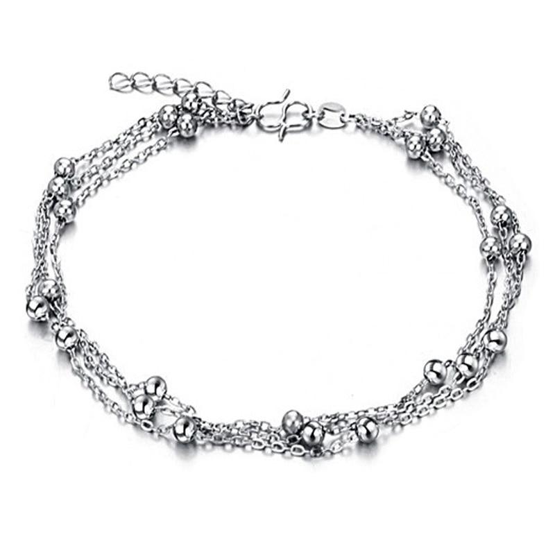 Cute Full Little Balls Indian Anklet Bracelet Argent 925 Foot Chain, 925 Sterling silver Anklets for Women Foot Bracelet Ankle