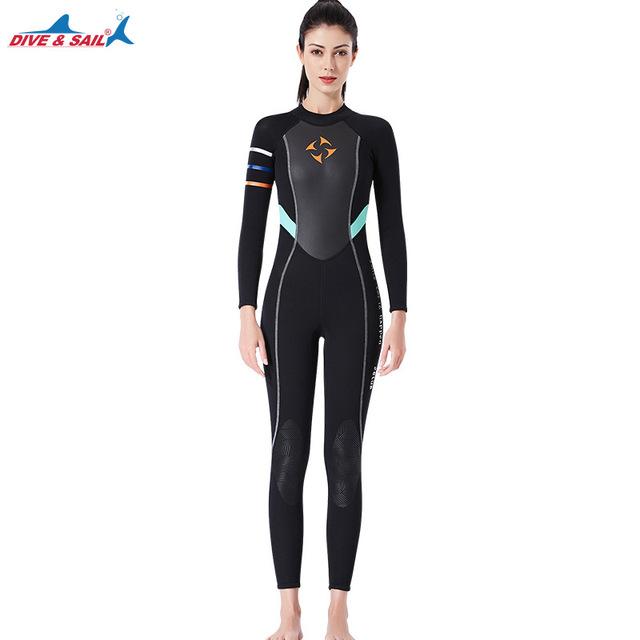 One-piece 3mm Neoprene+Shark Skin Wetsuit Swimsuit Women Bodysuit Wet Suit Keep Warm Surfing Scuba Snorkeling Spearfishing Suit