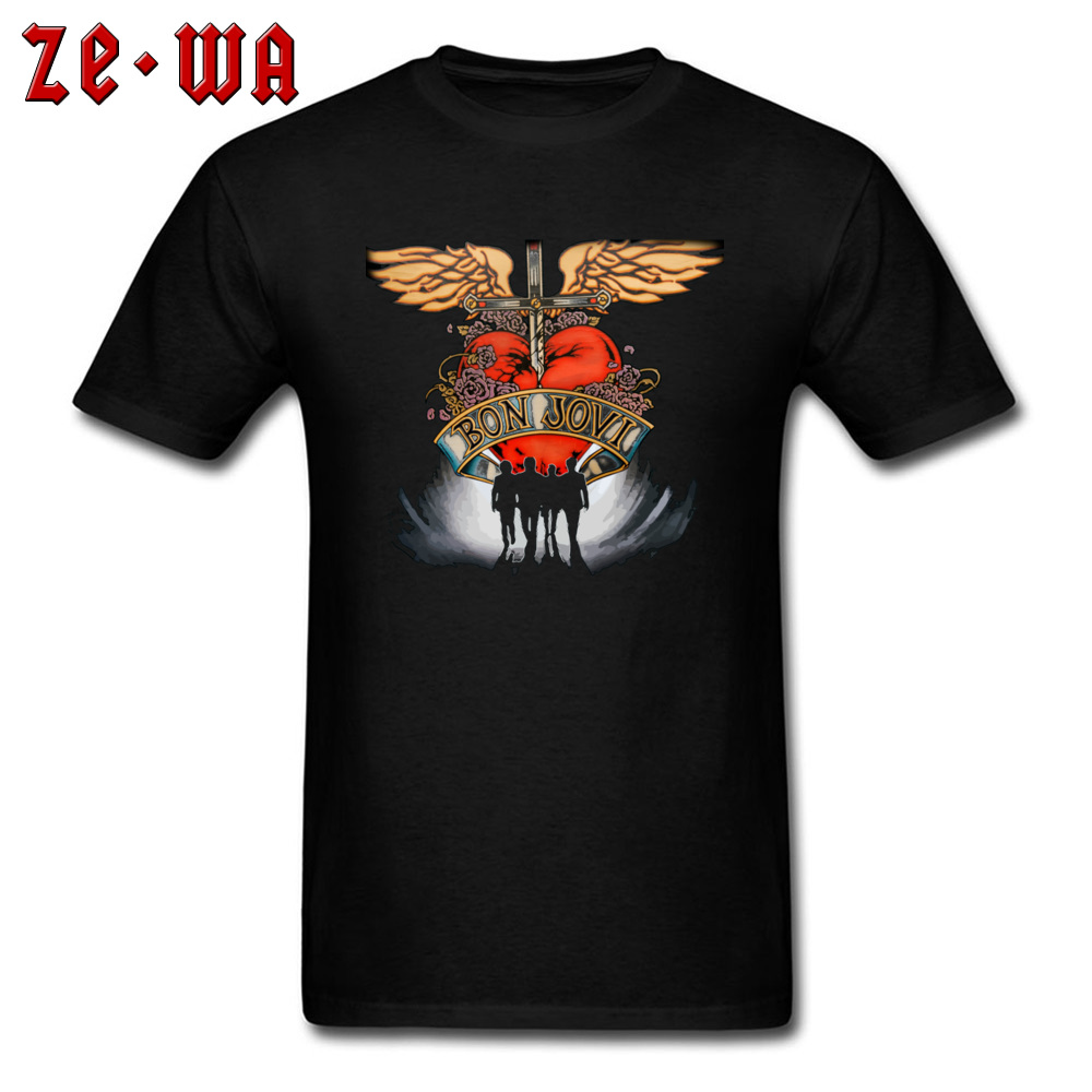 Bon Jovi T-Shirt Circle Bon Tee Shirt Men Short Sleeve TShirt Man T-shirts Plus Size Top Oversized 100% Cotton Punk Rock T Shirt